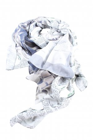 Alma & Lovis Szal letni biały-jasnoszary Nadruk z motywem W stylu casual