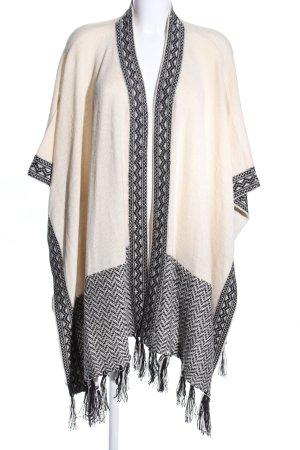 Poncho en tricot blanc cassé-noir motif graphique style décontracté