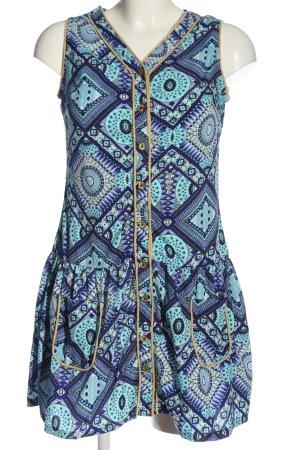 Almatrichi A-lijn jurk turkoois-blauw volledige print casual uitstraling