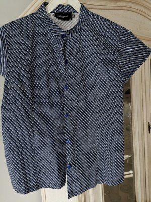 Almatrichi Short Sleeved Blouse dark blue-white cotton