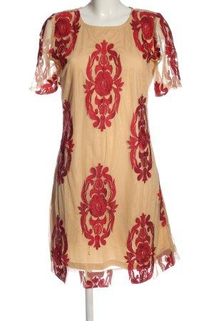 Almatrichi Jurk met korte mouwen nude-rood volledige print casual uitstraling
