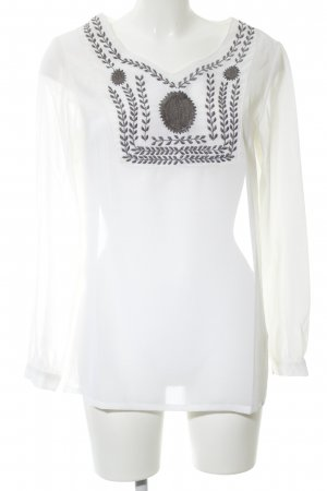 Almatrichi Long Sleeve Blouse white-light grey flower pattern casual look