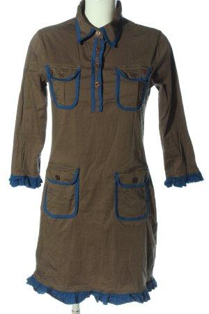 Almatrichi Sukienka z długim rękawem brązowy-niebieski W stylu casual