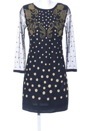 Almatrichi Sukienka midi niebieski-złoto Abstrakcyjny wzór Imprezowy wygląd