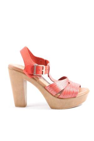 Almatrichi Czółenka z odsłoniętym palcem czerwony-brązowy W stylu casual
