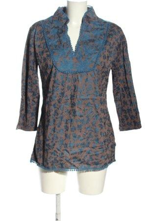 Almatrichi Blouse met lange mouwen groen-blauw abstract patroon
