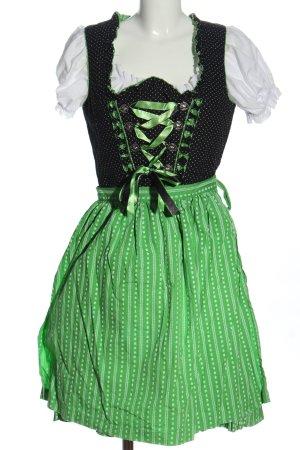 Almenrausch Dirndl noir-vert motif de tache style classique