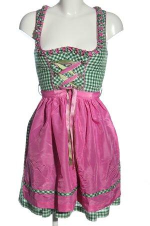 Almenrausch Dirndl vert-rose motif à carreaux style décontracté