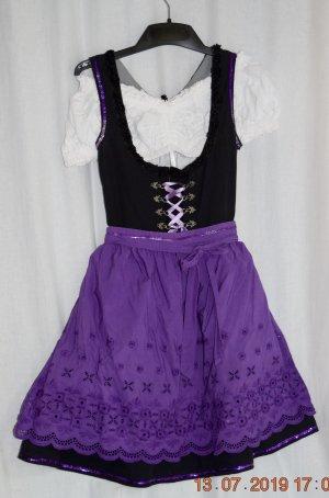 Almenrausch Vestido Dirndl negro-lila Algodón