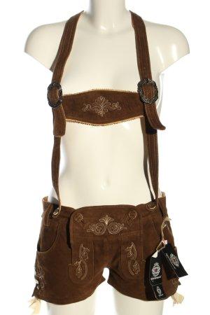 Almenrausch Pantalón de cuero tradicional marrón estilo clásico