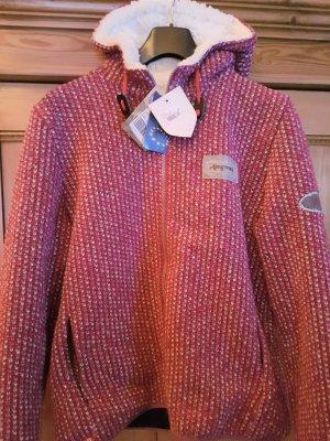 Almgwand Folkloristische jas roze-wolwit Wol