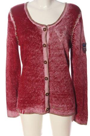 Almgwand Cardigan tricotés rouge moucheté style décontracté