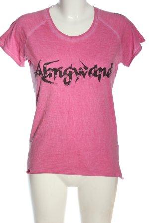 Almgwand T-Shirt pink-black printed lettering casual look
