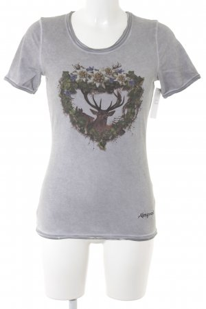 Almgwand T-Shirt grau Animalmuster Casual-Look
