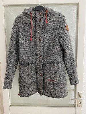 Almgwand Abrigo de lana gris-rojo