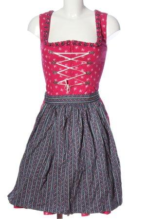 Almsach Vestido Dirndl estampado con diseño abstracto estilo clásico