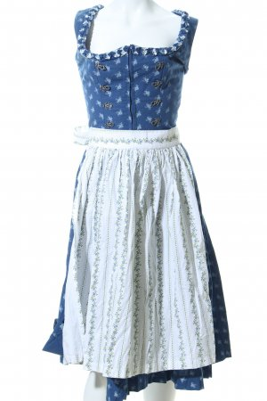 Almsach Vestido Dirndl azul-blanco estampado repetido sobre toda la superficie