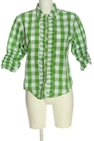 Almsach Shirt met korte mouwen groen-wit volledige print casual uitstraling