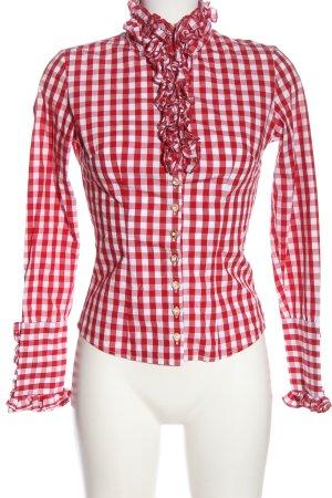 Almsach Shirt met lange mouwen rood-wit geruite print casual uitstraling