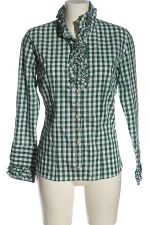 Almsach Shirt met lange mouwen groen-wit volledige print klassieke stijl