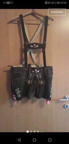 Almsach Pantalón de cuero marrón-rosa Cuero