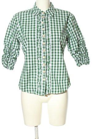Almsach Blusa folclórica verde-blanco estampado a cuadros look casual