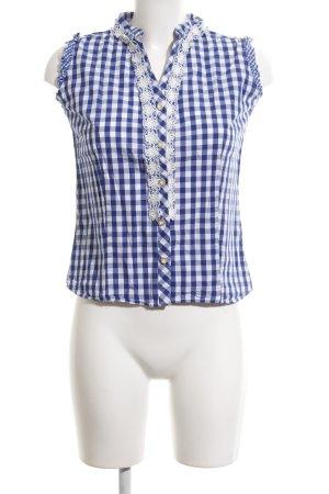 Almsach Blouse bavaroise blanc-bleu motif à carreaux style décontracté