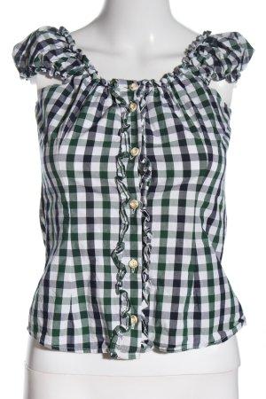 Almsach Blusa folclórica blanco-verde look casual