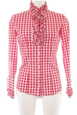 Almsach Blouse bavaroise rouge clair-blanc cassé motif à carreaux