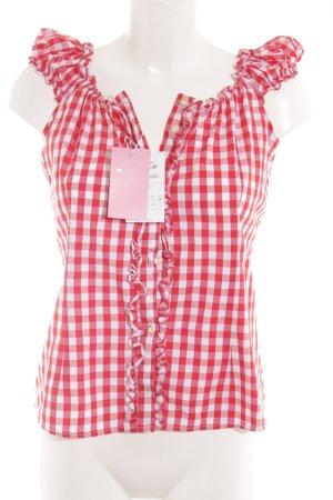Almsach Blouse bavaroise blanc-rouge motif à carreaux
