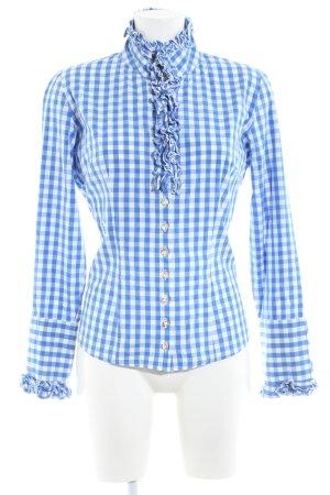 Almsach Chemise bavaroise blanc-bleu motif à carreaux style décontracté