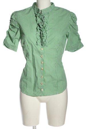 Almsach Folkloristische hemd groen-wit volledige print klassieke stijl
