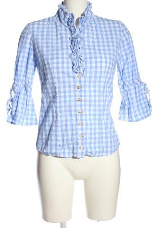 Almsach Camisa folclórica azul-blanco estampado a cuadros elegante
