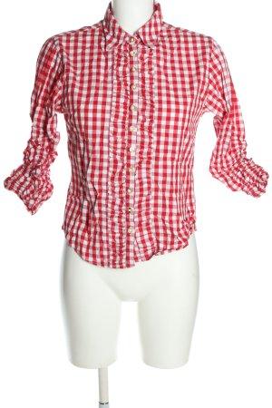Almsach Camisa folclórica blanco-rojo estampado a cuadros estilo «business»