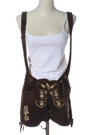 Almsach Pantalón de cuero tradicional marrón estampado floral elegante