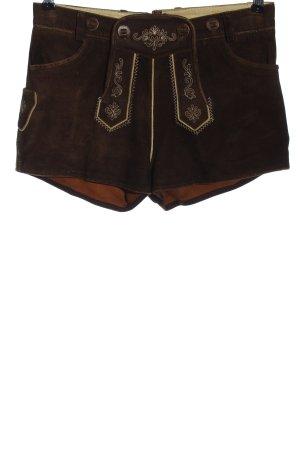 Almsach Tradycyjne skórzane spodnie brązowy-złoto Elegancki