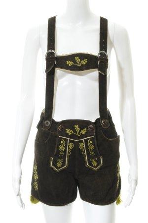 Almsach Pantalón de cuero tradicional marrón-negro-verde pradera look vintage