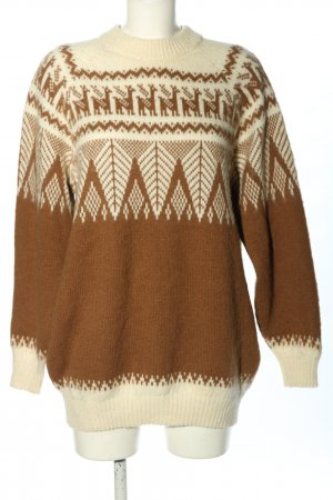Alpaca Connection Wool Sweater brown-natural white allover print casual look