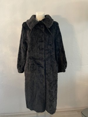 Futrzany płaszcz czarny-antracyt