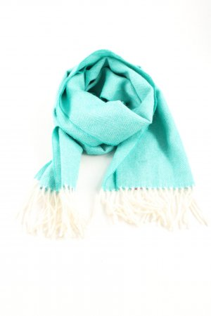 Fringed Scarf turquoise-natural white flecked casual look
