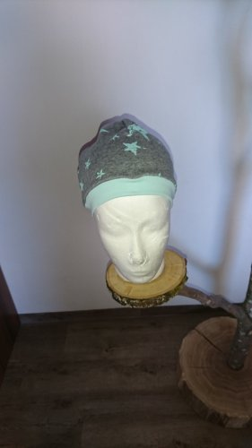 Handmade with Love Fabric Hat grey-turquoise