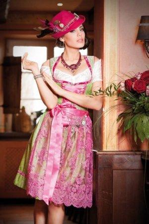 Alpenherz Sukienka koktajlowa jasnozielony-magenta