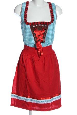 Alpenmärchen Vestido Dirndl rojo-azul estampado a cuadros elegante
