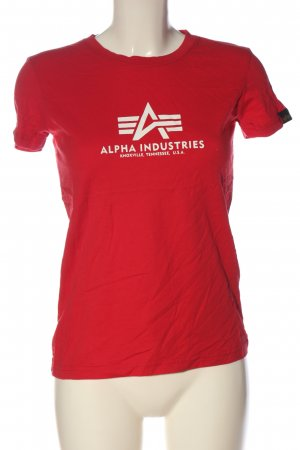Alpha Industries Camiseta estampada rojo letras impresas look casual