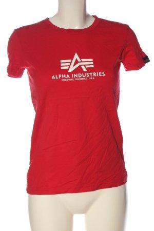 Alpha Industries T-shirt imprimé rouge lettrage imprimé style décontracté