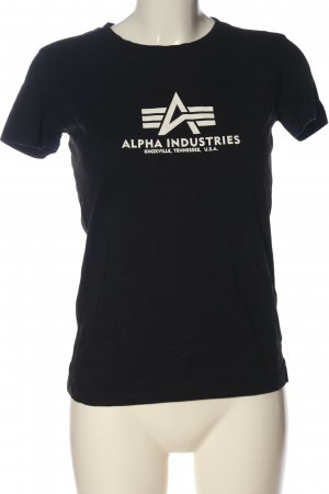 Alpha Industries T-shirt imprimé noir-blanc cassé lettrage imprimé
