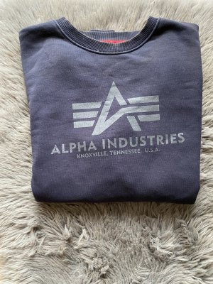 Alpha Industries Pull ras du cou bleu foncé