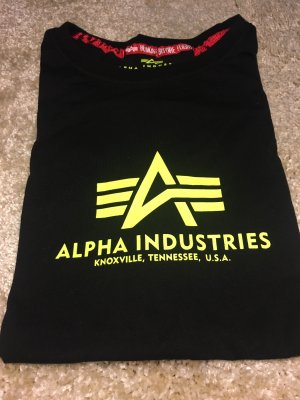 Alpha Industries T-Shirt black-neon yellow cotton