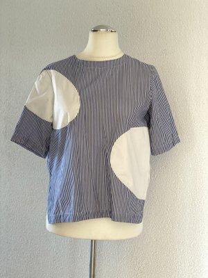 Alpha60 scandi 60er Oversize Bluse Shirt blau weiß Gr. M 38