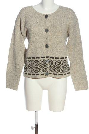 Alphorn Cardigan blanc cassé-noir motif graphique style décontracté